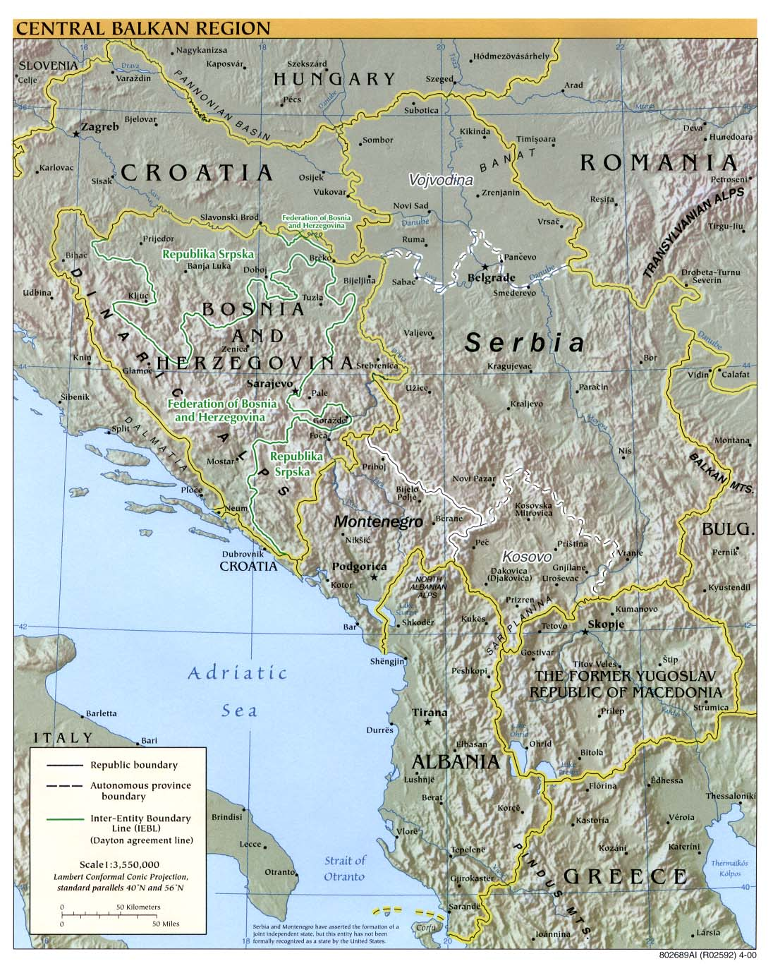 InterOpporg Physical Map Of The Central Balkan Region Large - Albania physical map 2000