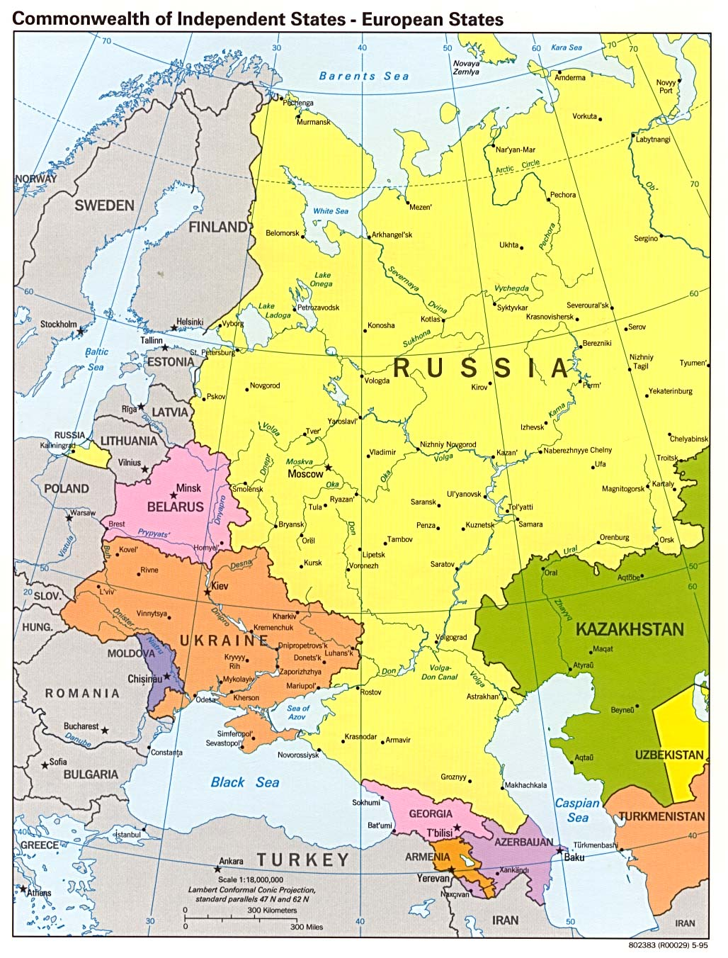InterOpporg  Political Map of Eastern Europe  Eastern Portion 1995