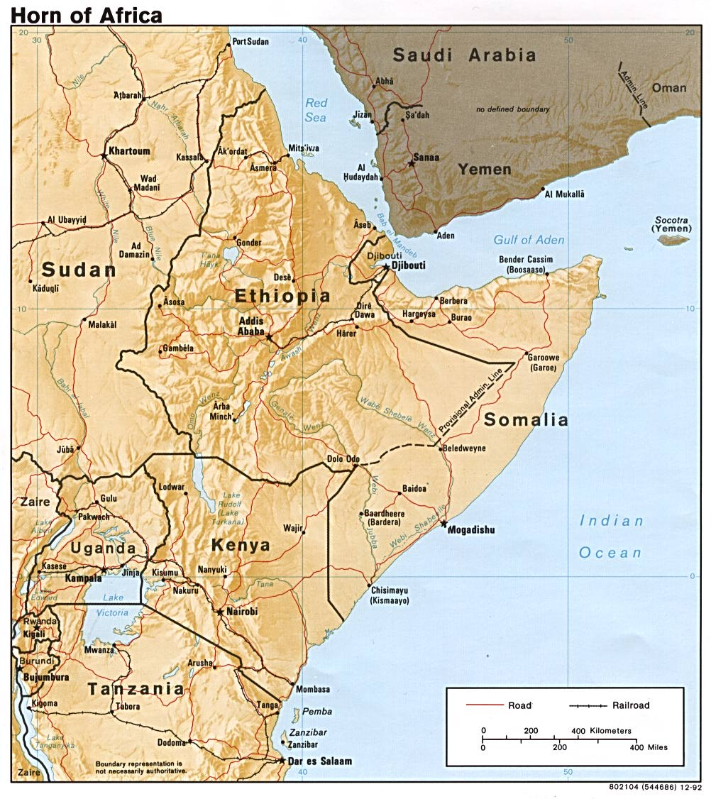 InterOpporg  Physical map of the Horn of Africa large 1992