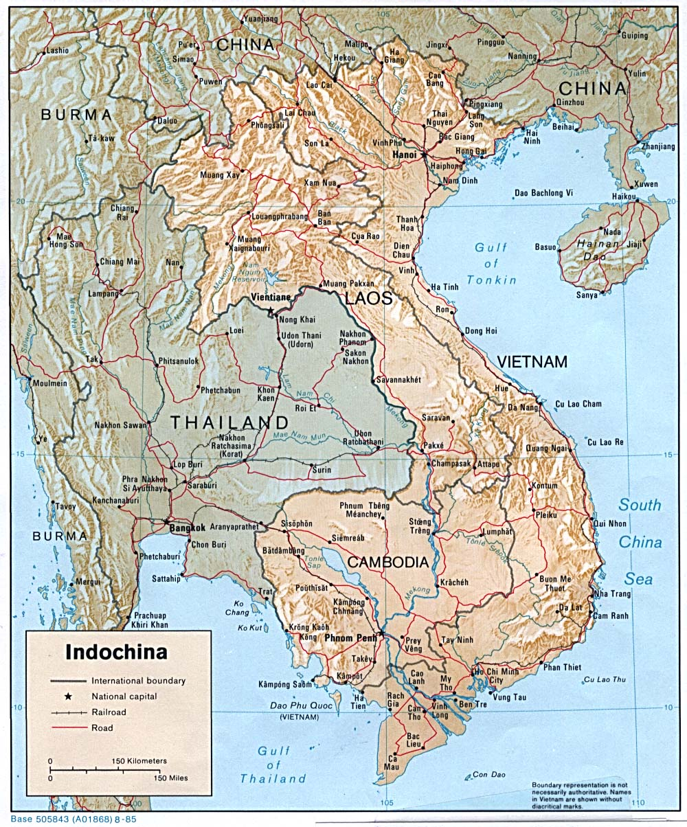 Physical Map Of Indochina, 1985