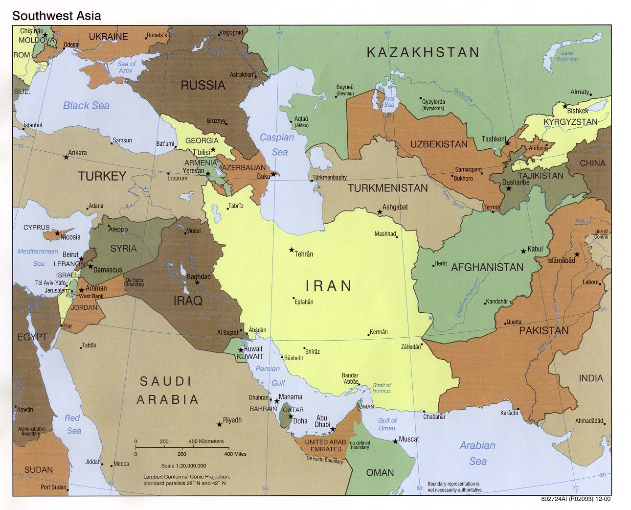 InterOpporg Political map of the Middle East large 2000