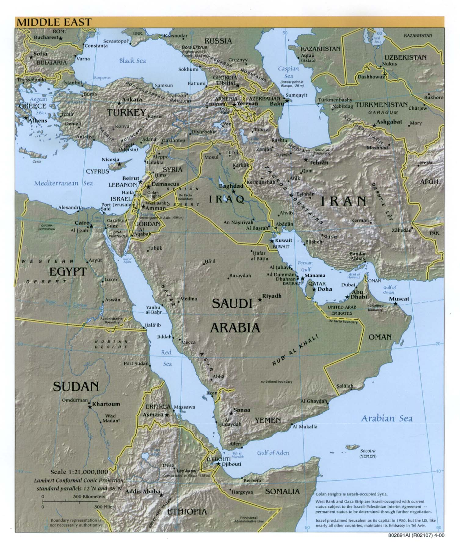 InterOpporg Physical map of the Middle East large 2000