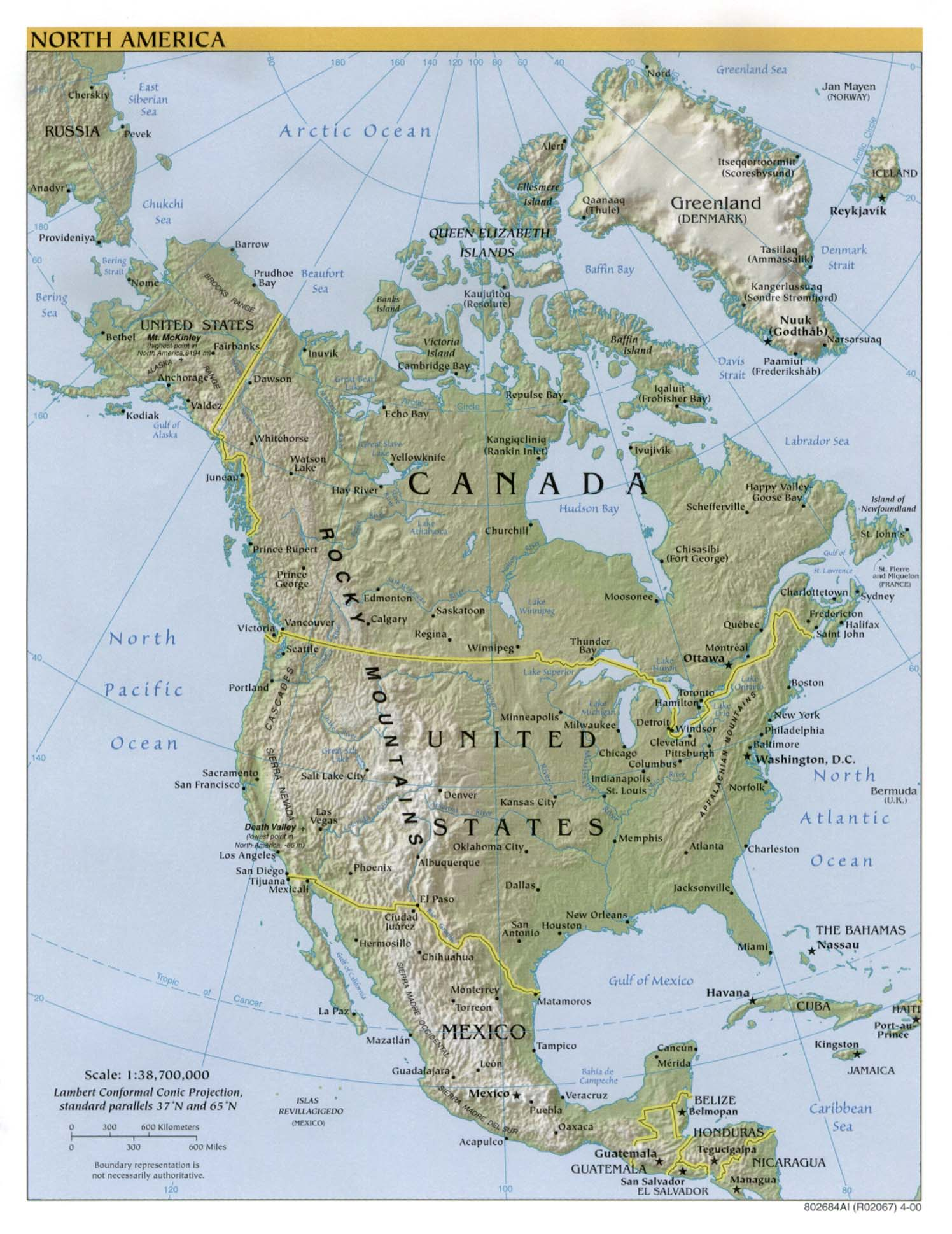 InterOpporg Physical Map of North America 2000