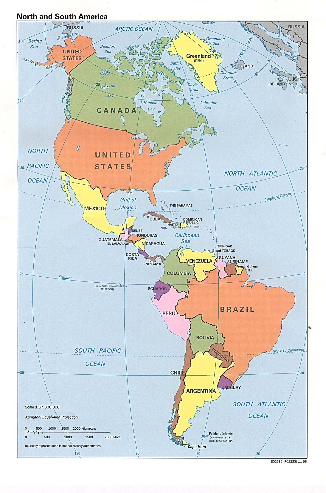 InterOpporg Political Map Of North America And South America - Argentina political map 1996
