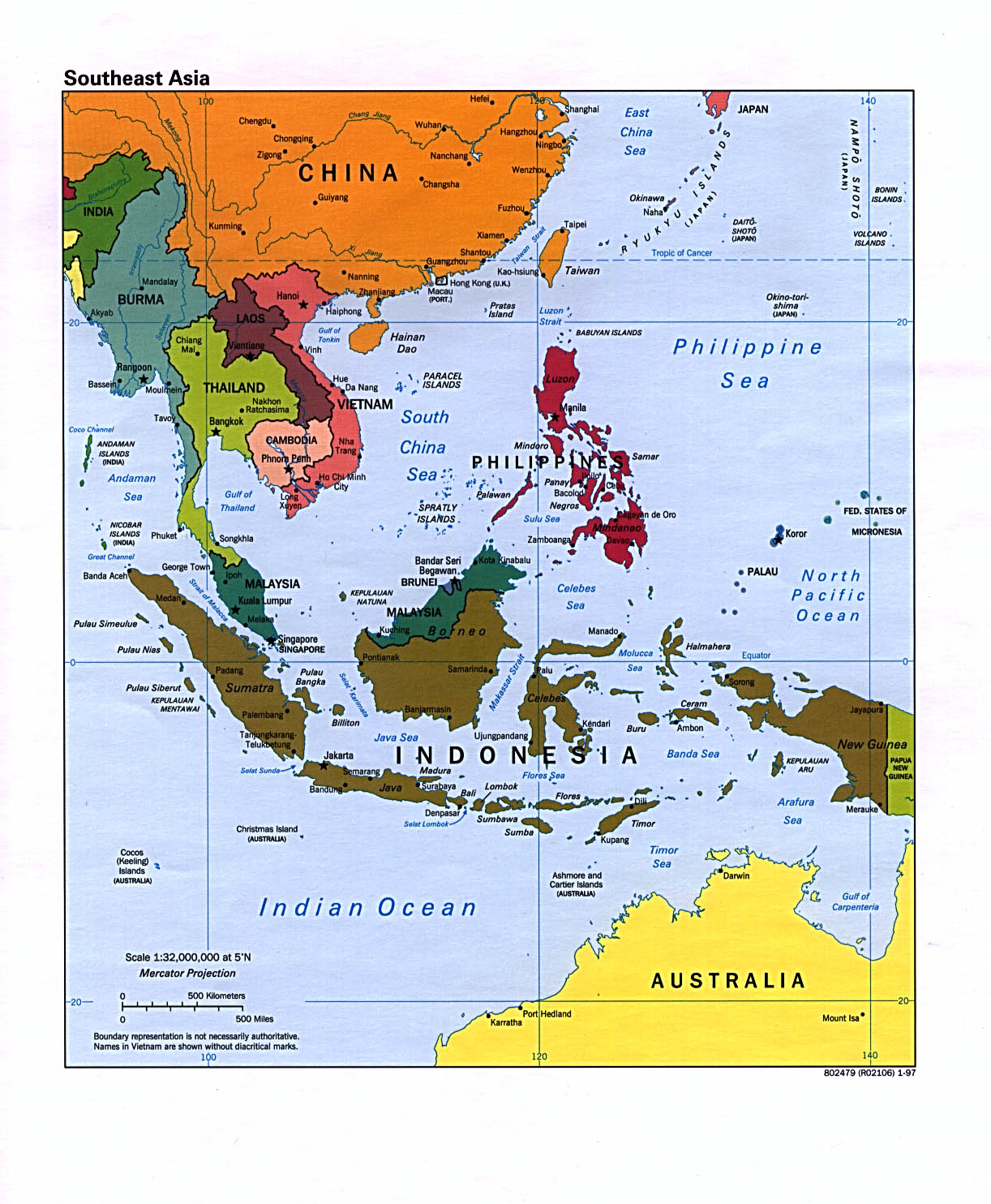 Interopp political map of southeast asia large 1997 political map of southeast asia large 1997 publicscrutiny Gallery