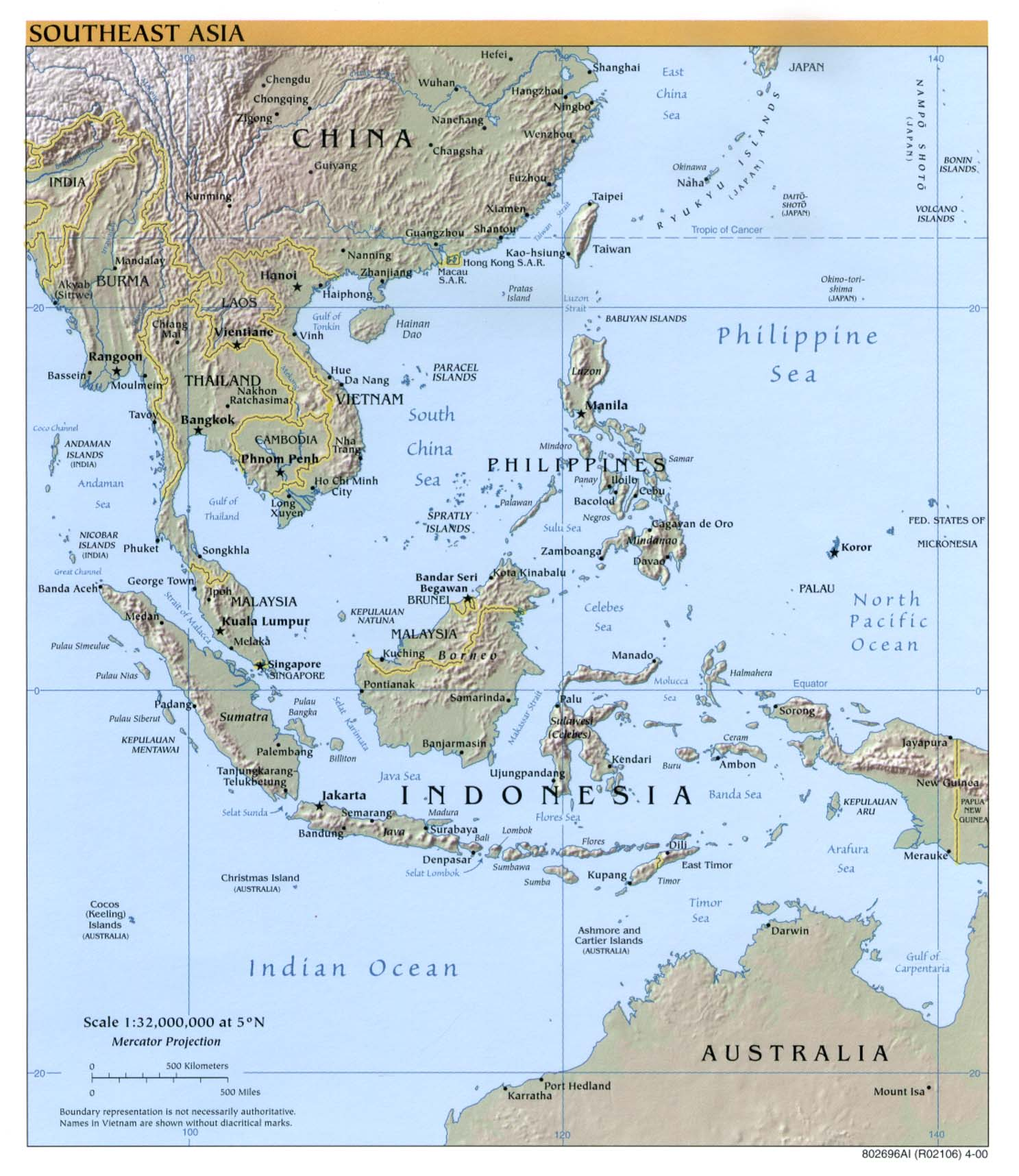 InterOpporg Physical Map Of Southeast Asia - Asia physical map