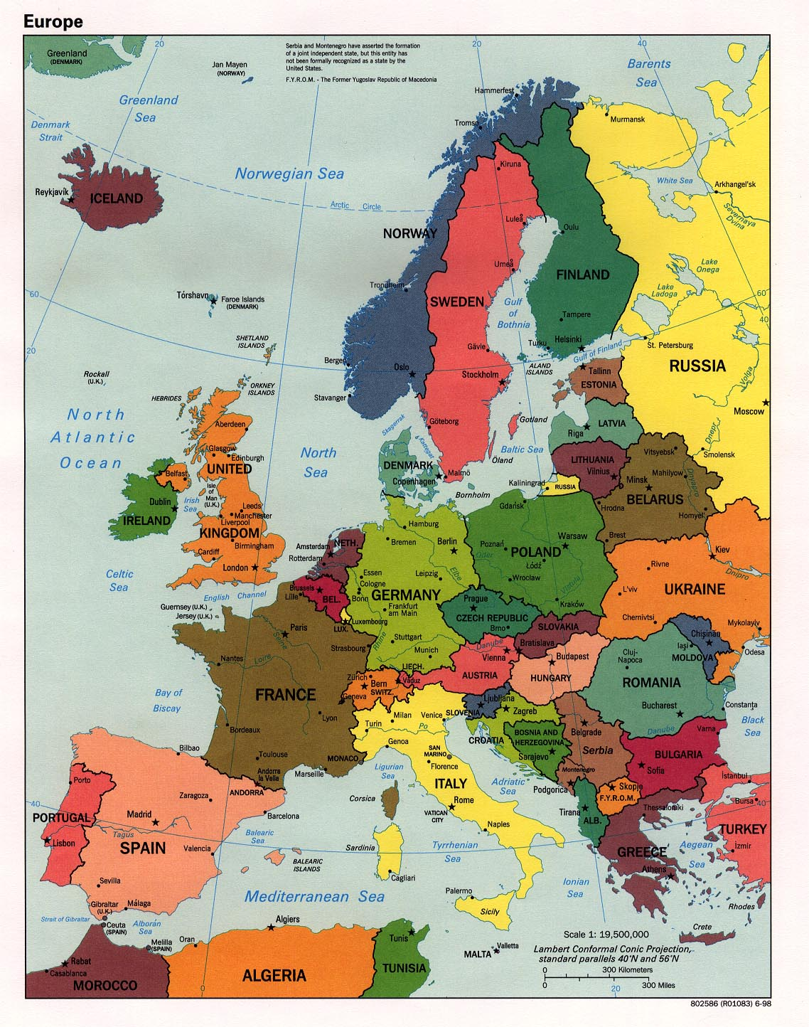 Political Map of Western Europe 1998