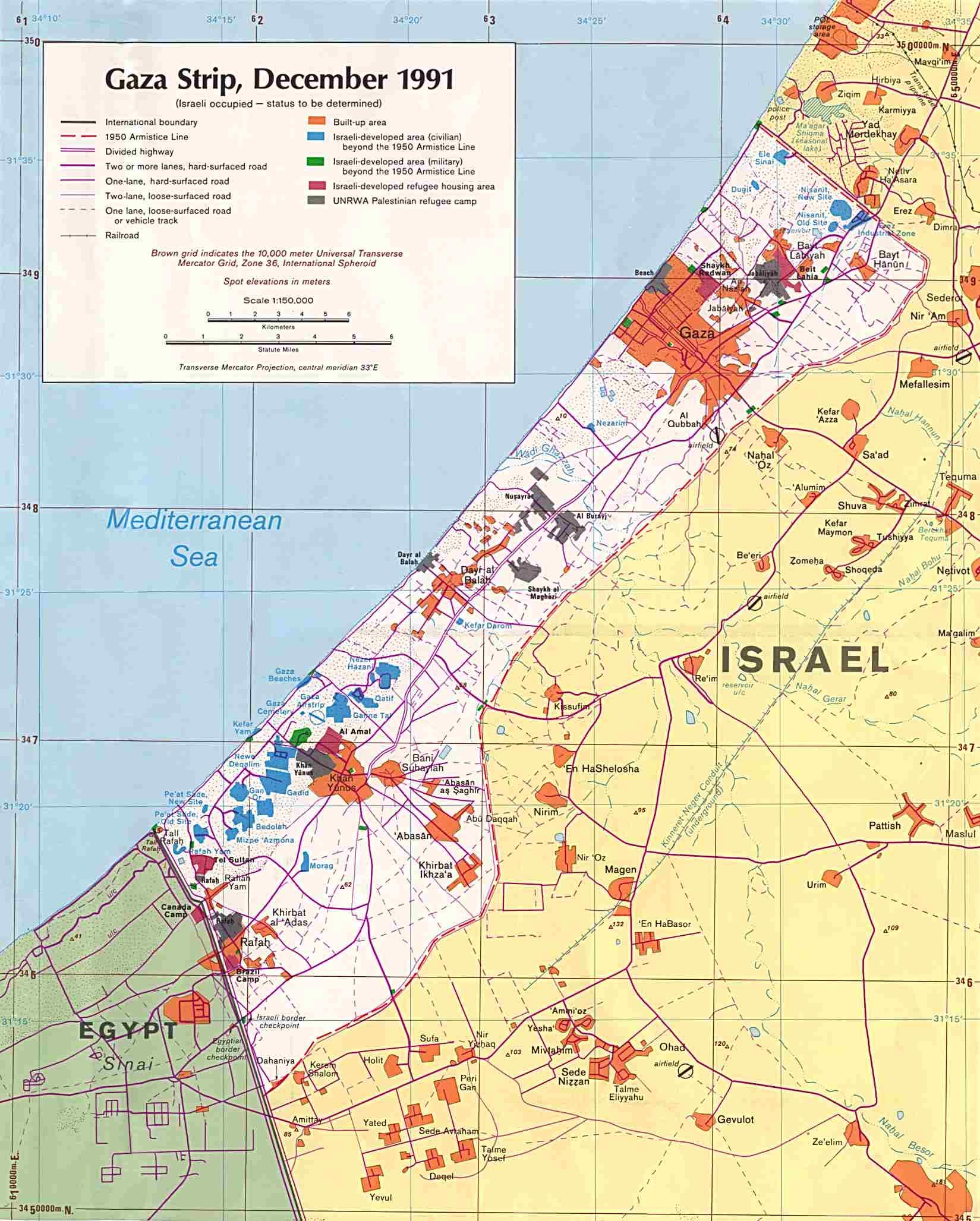 InterOpporg Political Map of Gaza Strip large 1991