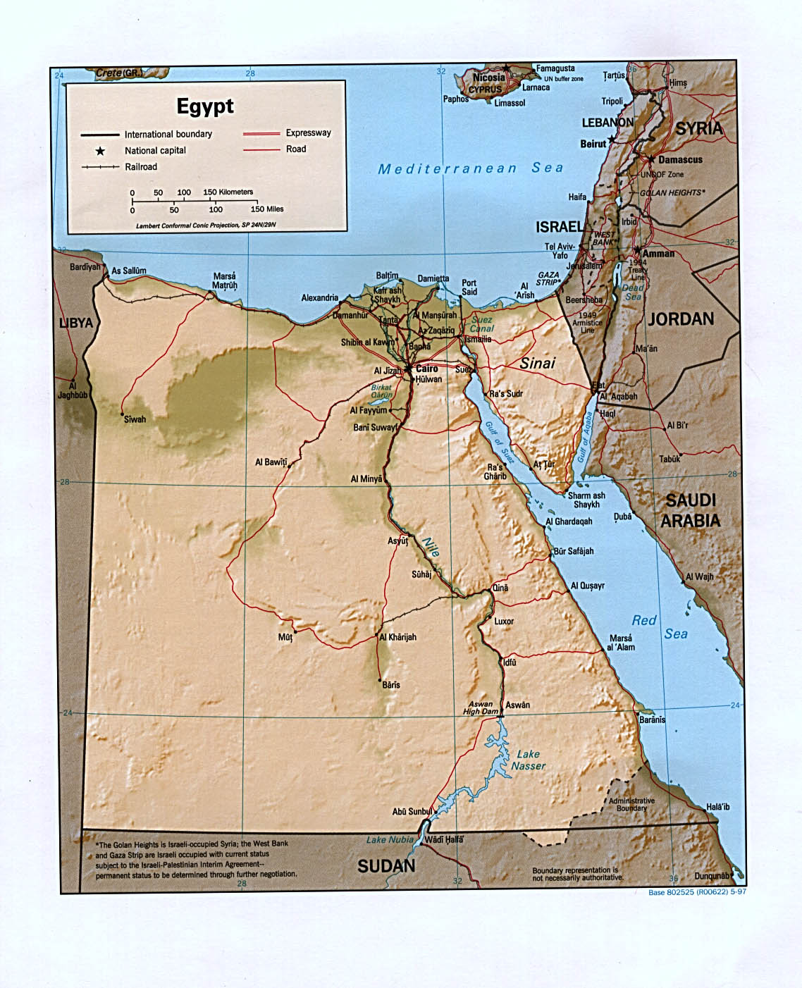 InterOpporg Shaded Relief Map Of Egypt Large - Map of egypt texas