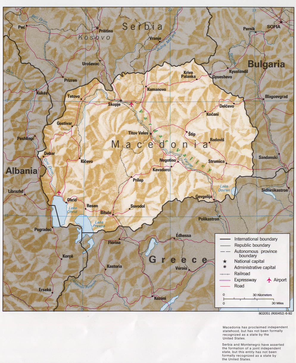 InterOpporg Shaded Relief Map Of Macedonia The Former Yugoslav - Cheap large maps
