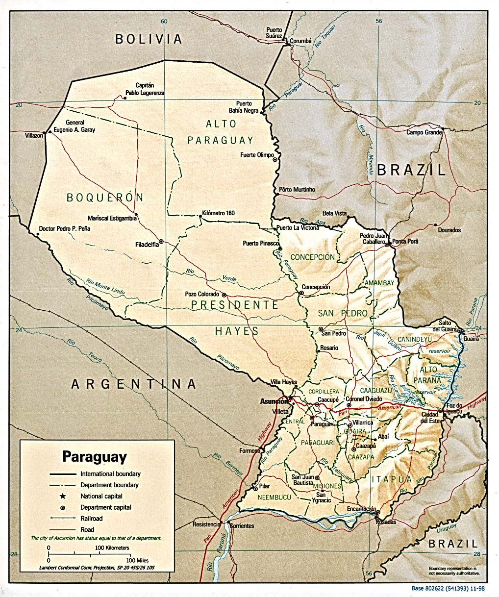InterOpporg Shaded Relief Map of Paraguay large 1998