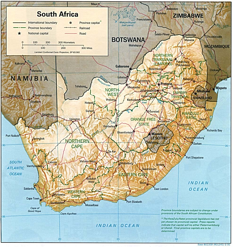 InterOpporg Shaded Relief Map of South Africa large 1995