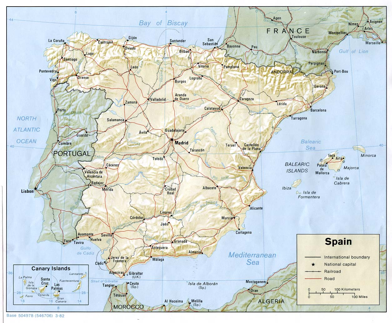 InterOpporg Shaded Relief Map of Spain large 1982