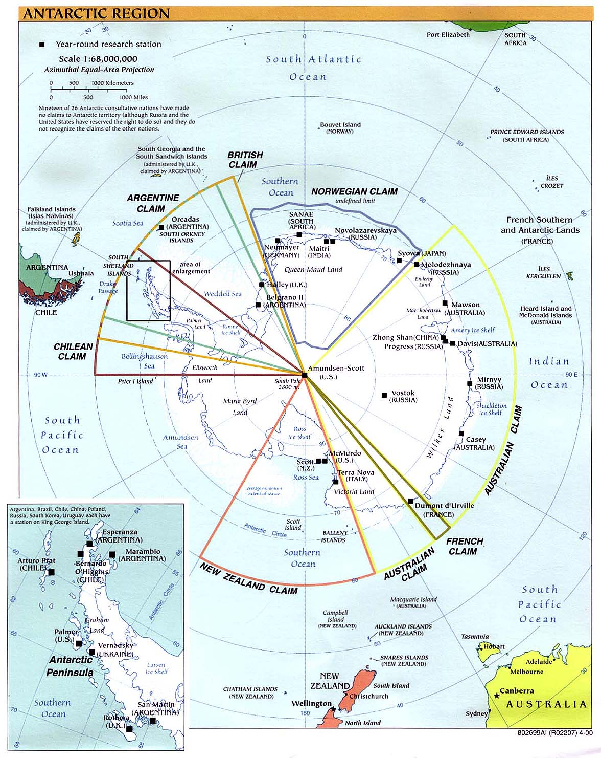 InterOpp.org - Physical map of the Antarctic Region, large, 2000