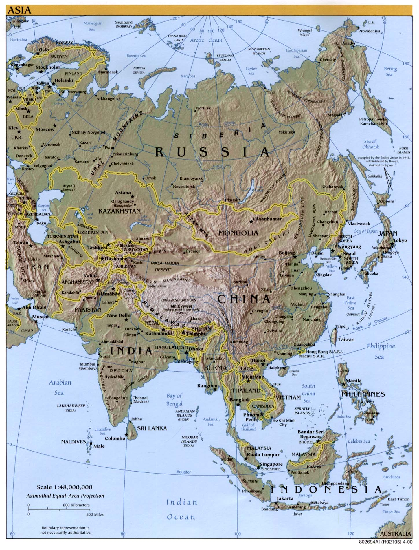Large Map Of Asia.Interopp Org Physical Map Of Asia Large 2000