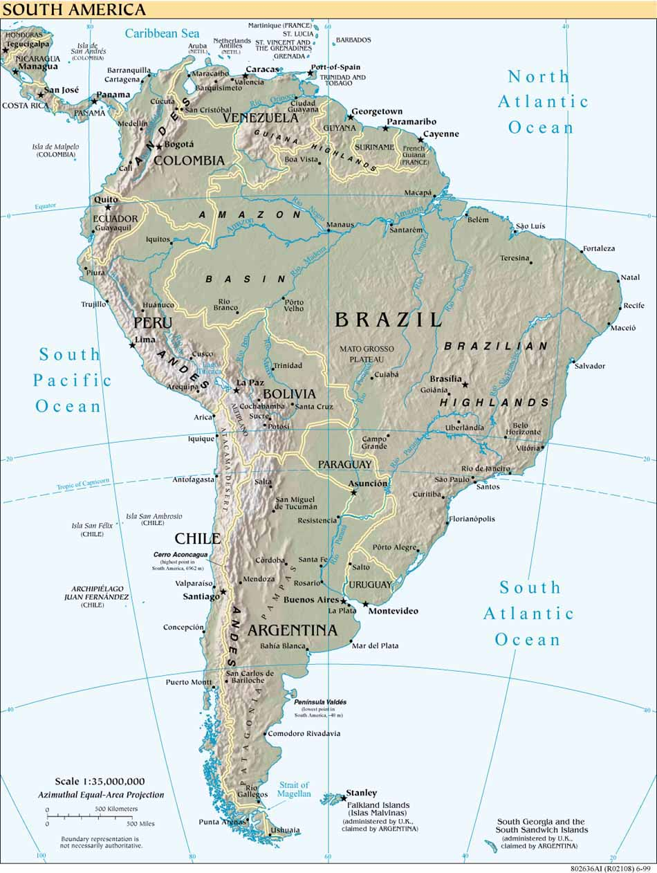 InterOpp.org - Physical map of South America, large, 1999